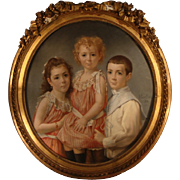 Large & Fine Painting of 3 Children from France