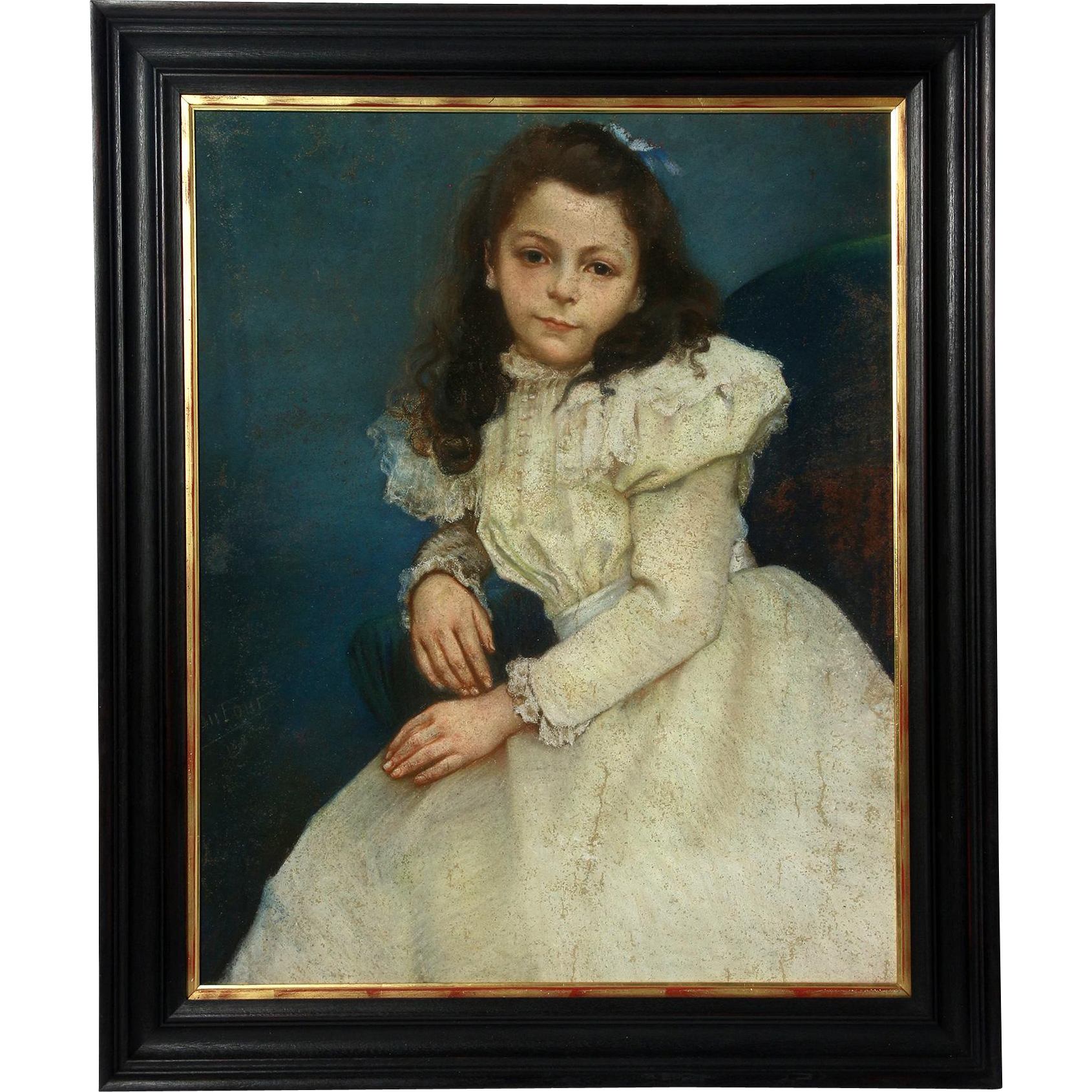 Signed Pastel Painting of Girl in White Dress- French circa 1898