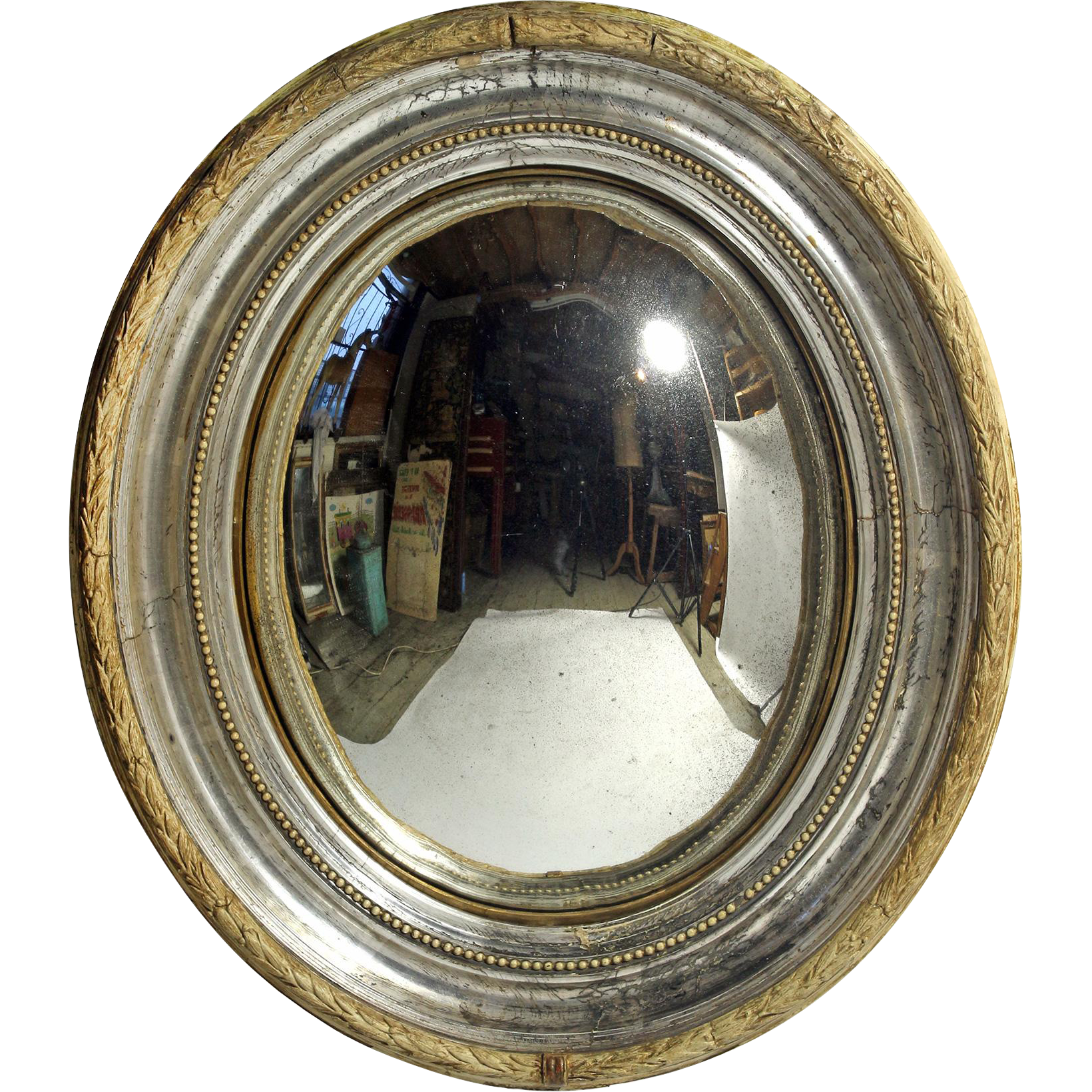 Italian 19th C. Oval Convex Mirror