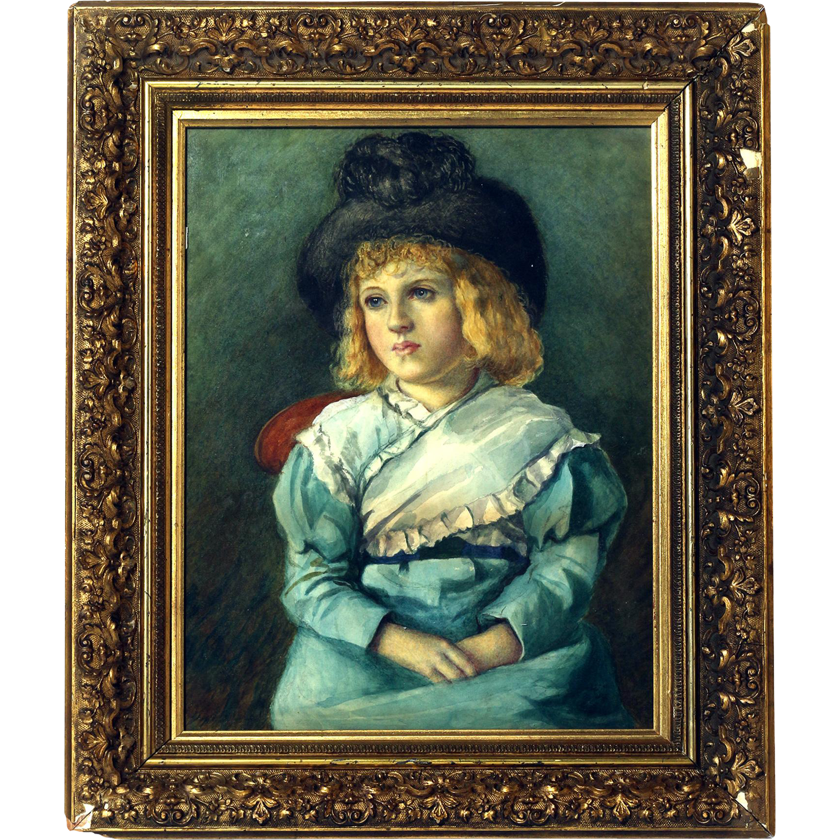 19th C. Watercolor of Young Boy with Hat