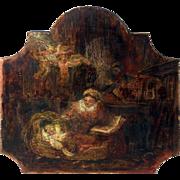 Primitive Nativity Scene Painting from France.