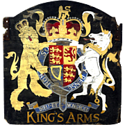 Old Painted Wood Pub Sign with Royal Coat-of-Arms