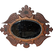 Unusual 'Sailorwork' Mirror in carved wooden frame.