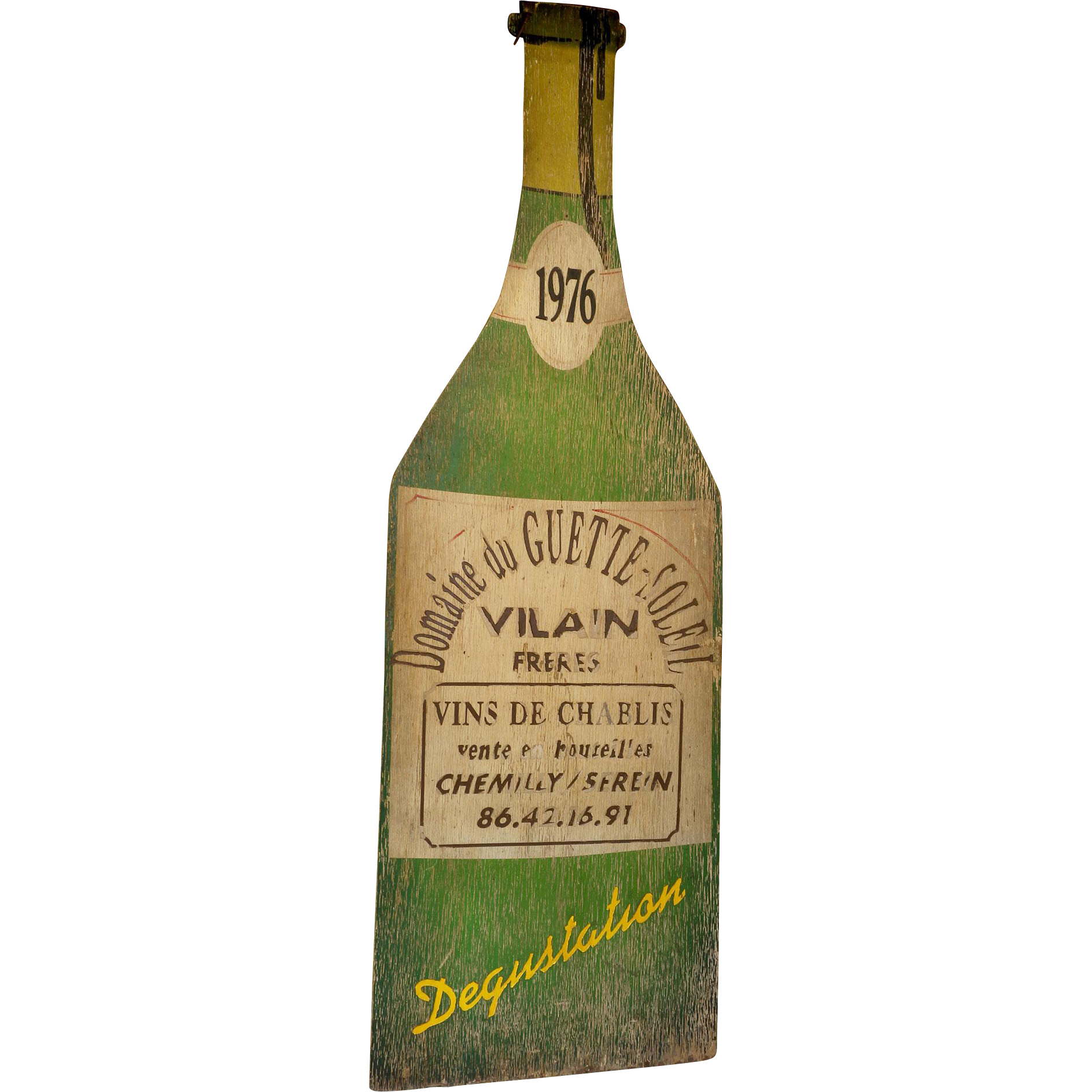 Giant Painted Wood Advertising Bottle for Chablis Wine