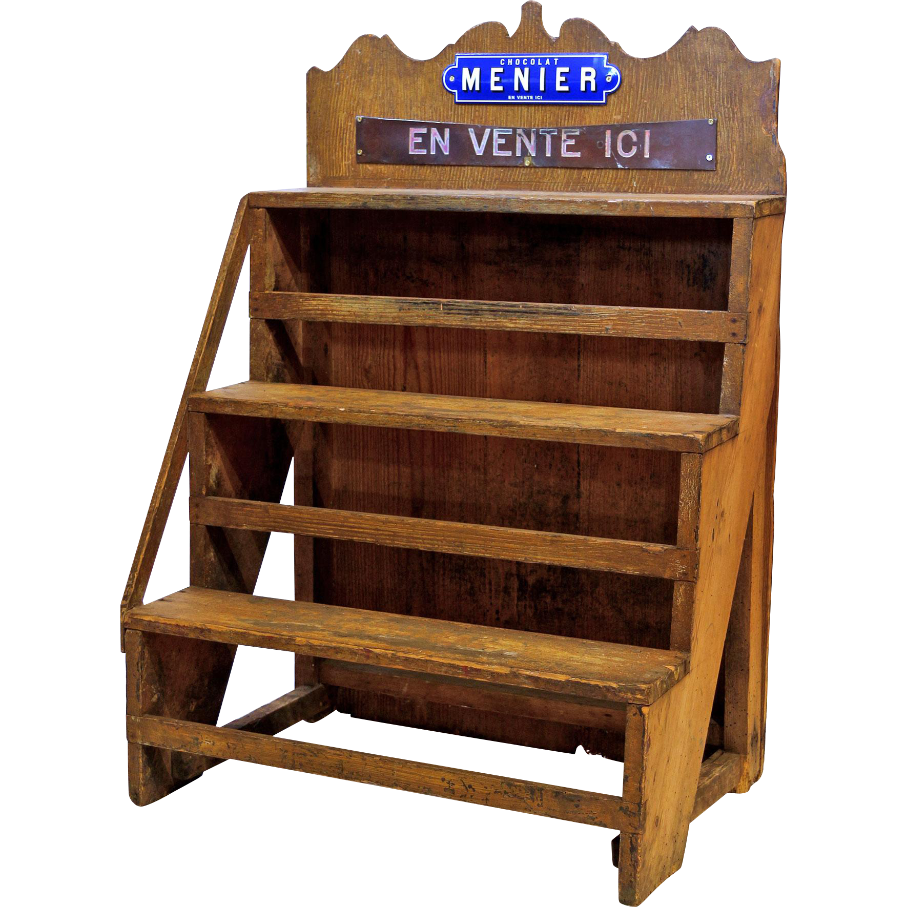 Old Wooden Chocolate Shop Shelfrack from France.