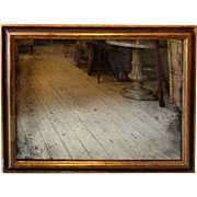 French Wall Mirror in Gilded & Painted Wood Frame.