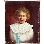 Signed Oil Painting of Young Girl in Sailorsuit.