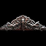 Vintage Wooden Overdoor Carving with Boar's Head
