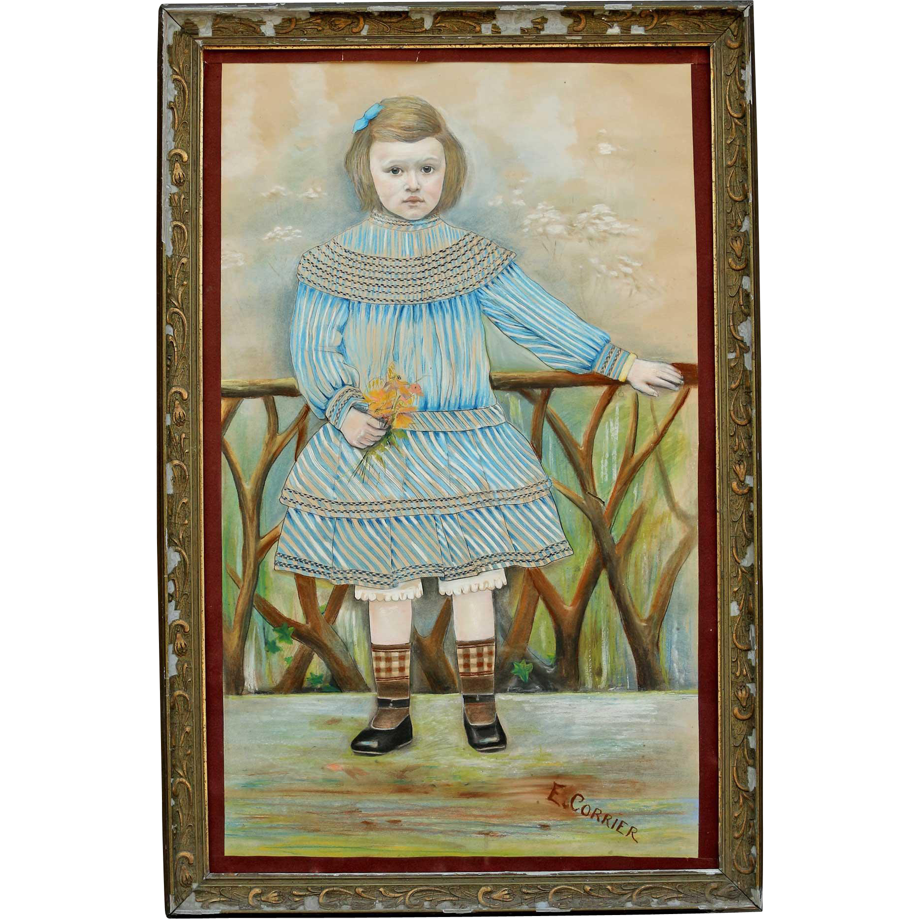 Naive Portrait in Pastels of a Young French Girl