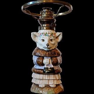 Rare Original 'William Whitely' ' Mrs.Fox'  China Oil Lamp