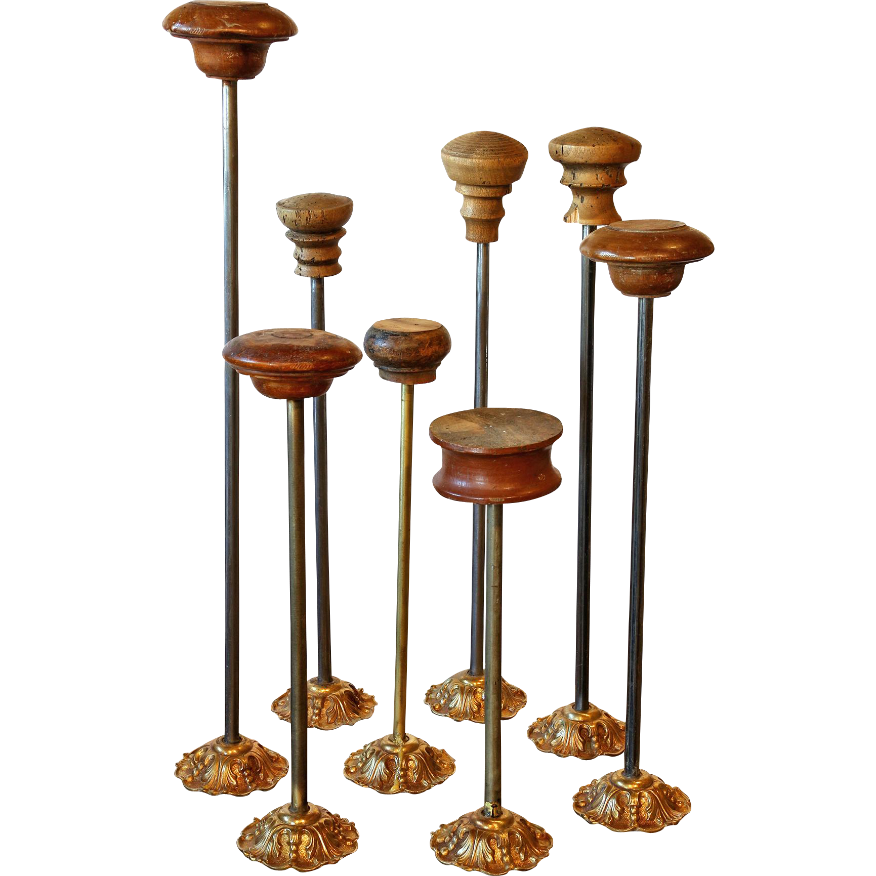 Collection of 8 Antique Hat Stands from a Shop.