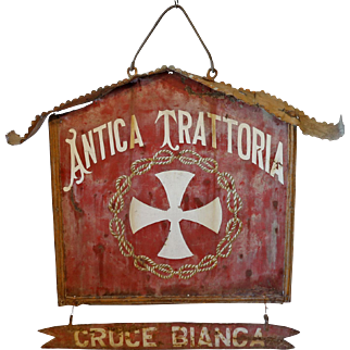 Antique Hanging Sign from Italian Trattoria