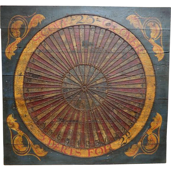 Painted Dartboard Sign from English Fairground