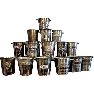 Collection of 15 Advertising Champagne Buckets from France