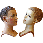 Two Early Wax Child Mannequin Heads by Siegel of Paris.