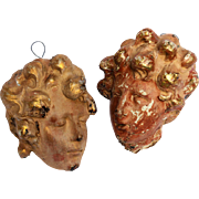 Pair of Carved Cherub Heads from Italy