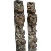 Pair of 18th C. Country House Woodcarvings