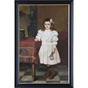 19th C. Oil Painting of Girl with Rose