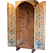 17th C. Painted Sacristi Cabinet from Spain.
