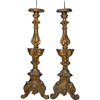 Pair of Gilded Wooden Church Candlesticks