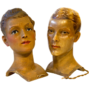 Wax Boy Mannequin Head by Siegel of Paris