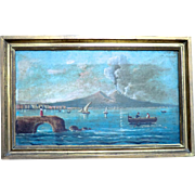 19th C.Oil Painting of Vesuvius Erupting