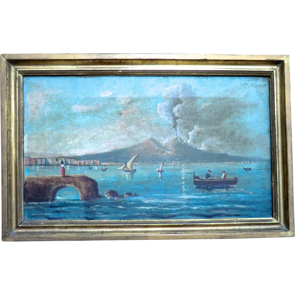 19th C.Oil Painting of Vesuvius Erupting