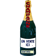 Enamelled Champagne Bottle Sign from France