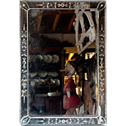 Bevelled Bar Mirror with Venetian Mirrored Frame.