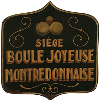 Vintage French sign from a 'Boules' Club