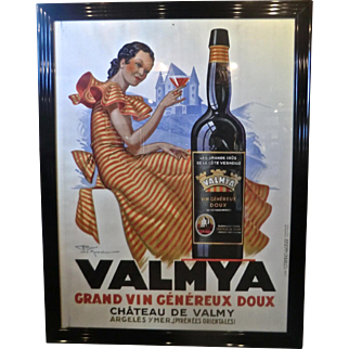 Rare Original Vintage French Wine Poster