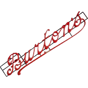Carved Wood Antique Shop Sign 'Burtons'