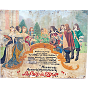 Handpainted Antique Advertising Sign from France