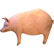 Papier Maché Pig Sign from Charcuterie Shop in France