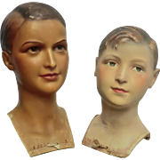 Two Vintage Wax Mannequin Busts of Boys by Siegel of Paris