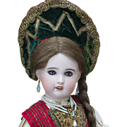 "18 1/2"" (47 cm) Antique French Bisque SFBJ/Jumeau doll in wonderful rare Russian costume"