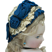 Antique Original French Wire Framed Bonnet Hat for fashion doll Rohmer Huret Jumeau Bru Gaultier and other