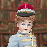 "21 1/2"" (55 cm) Antique German Bisque Doll DEP, 44-28, by Gebruder Kuhnlenz in original french uniform costume, for french market"