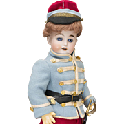 "21 1/2"" (55 cm) Antique German Bisque Doll DEP, 44-28, by Gebruder Kuhnlenz in original french uniform costume, for french market"