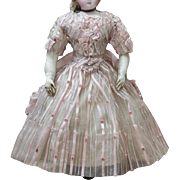 "Wonderful Antique French Silk Gauze Ball Dress for Fashion doll Huret Rohmer Jumeau Bru Gaultier and other, about 17-18"" tall"