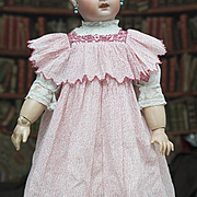 Antique French Original Red Cotton Pinafore Dress and Batiste Blouse for Jumeau Steiner Eden bebe or early german doll about 26-27in (65-68 cm).