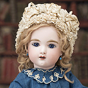"18"" (45 cm)  Antique French French Bisque Eden Bebe by Fleischmann & Blodel, Depose Model, original dress"