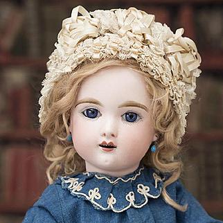 """18"""" (45 cm)  Antique French French Bisque Eden Bebe by Fleischmann & Blodel, Depose Model, original dress"""