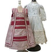 """Antique Original French Red Checkered Cotton Pinafore and Off white Silk&Cotton Dress for Jumeau bru Steiner Eden bebe and other doll about 18-19"""" tall"""
