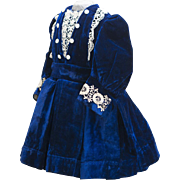 "Antique French Royal Blue Velvet Dress for Jumeau Bru Steiner Eden bebe Gaultier and other french doll about 26"" tall (65cm)"