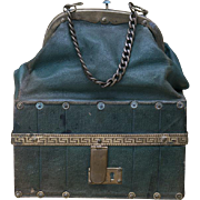 Rare Early French Poupees Sac du Voyage travelling bag by Maison Giroux for fashion doll Huret Rohmer Jumeau Gaultier and other, c.1870