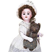 "7 1/2"" (19 cm) Antique German Beautiful All Bisque Mignonette Doll by Simon & Halbig with high-laced boots, c.1885"