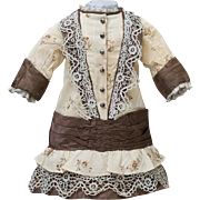 "Antique French Original Cream Silk/  Wool Princess-Styled Dress for Jumeau Bru Steiner Eden Bebe E.J. doll about 21-22"" (53-56 cm) tall"