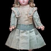 """Antique Original Aqua Silk Satin Dress for Jumeau Bru Steiner Gaultier Eden Bebe E.J. doll bebe about 20-21"""" tall"""