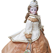 "14"" (35 cm). Antique French Fashion Poupee Doll by Bru In Silk Couture Gown"